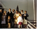 On the steps of Wesleyville's Jubilee United Church just after the marriage of Elizabeth Davis (William-George-James-Le