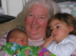 Sue Milne with two grandchildren, Annabelle & Liam Beacock, (Esau's great great grandchildren) at Fergus, ON, Jan. 2008