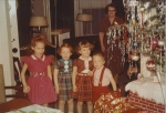 Nancy, Leslie, Vicky, Robert Wisnom (Mary Hannah [Davis] Noseworthy in background) ca. 1958